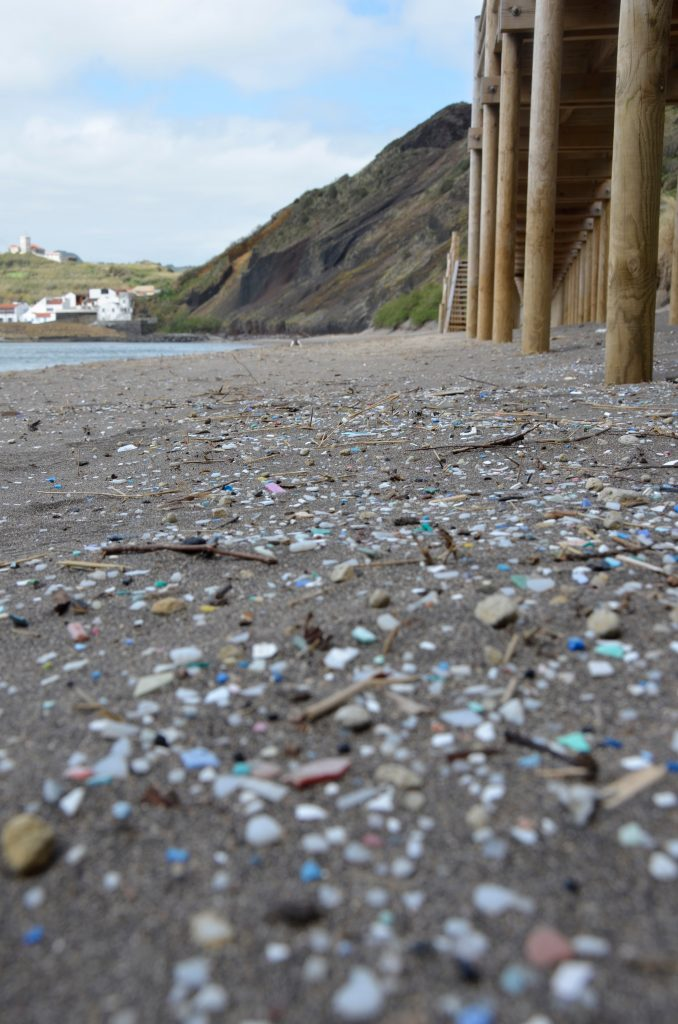 Fotografia do Areal da Praia de Porto Pim com lixo plástico