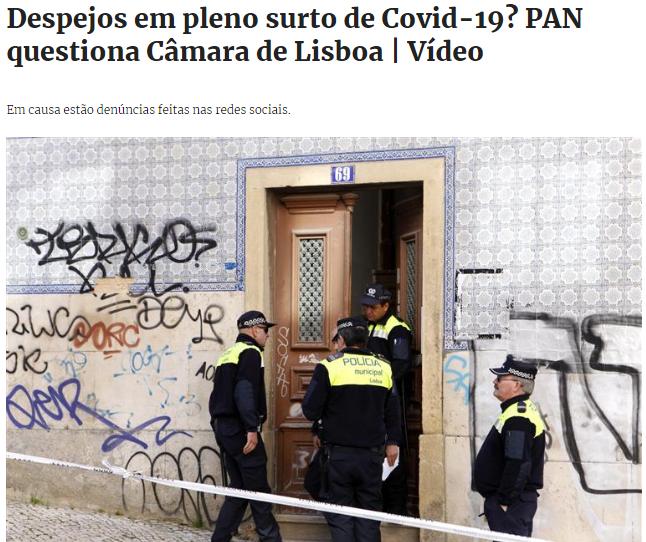 Despejos Bairros Sociais Lisboa Covid-19